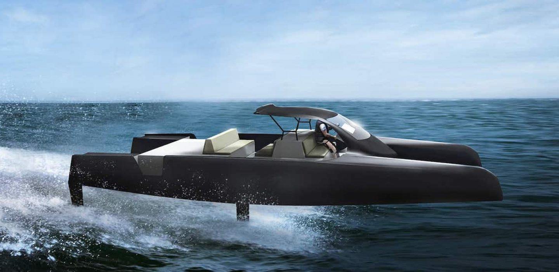 Catamaran électrique a foils